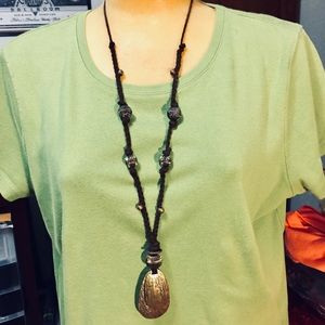 Unisex necklace with braided faux leather